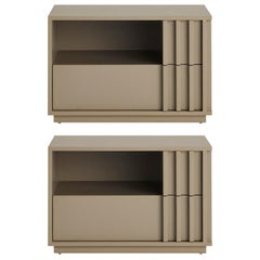 Set of 2 Relevo Nightstand with Two Drawers in Taupe
