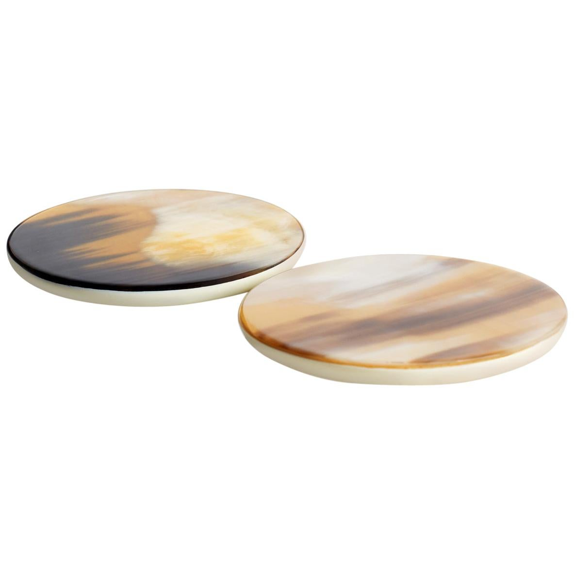 Set of 2 Round Coasters in Corno Italiano and Ivory Lacquered Wood, Mod. 220