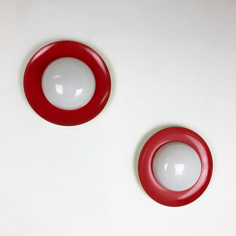 Set of 2 Round Metal Opaline Glass Wall Light Sconces, red yellow, Italy, 1960s For Sale 8