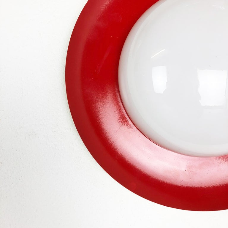 Italian Set of 2 Round Metal Opaline Glass Wall Light Sconces, red yellow, Italy, 1960s For Sale