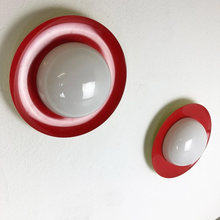 Set of 2 Round Metal Opaline Glass Wall Light Sconces, red yellow, Italy, 1960s For Sale 1