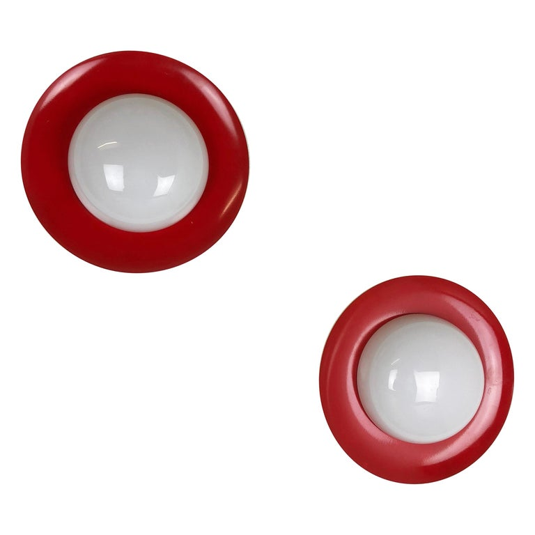 Set of 2 Round Metal Opaline Glass Wall Light Sconces, red yellow, Italy, 1960s For Sale