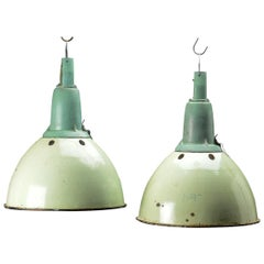 Set of 2 Russian Industrial Warehouse Style Pendler Industrial Green Enamel Lamp