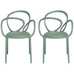 Set of 2 Sage Green Loop Padded Armchair, Made in Italy