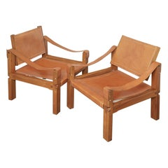 Set of 2 Sahara Lounge Chairs S10 by Pierre Chapo of Solid Elmwood and Leather