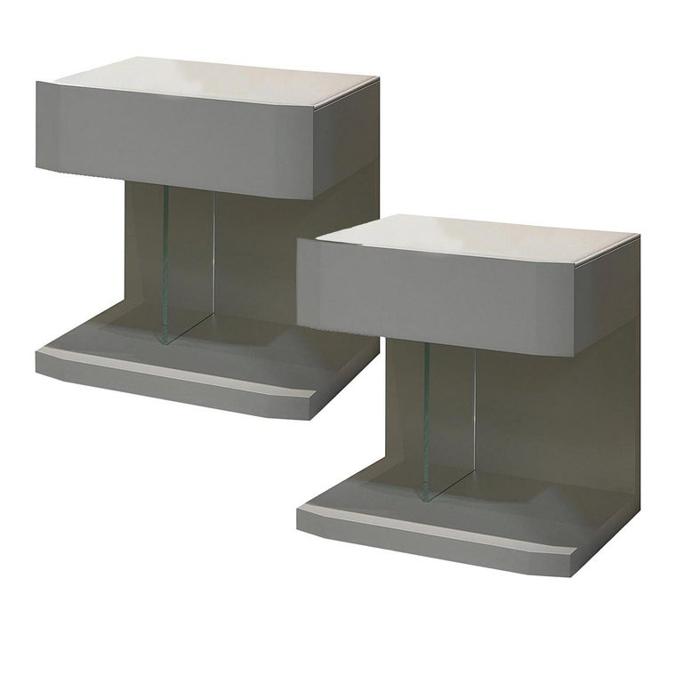Modern In Stock in Los Angeles, Set of 2 Leather Samar Beige Nightstand Tables For Sale