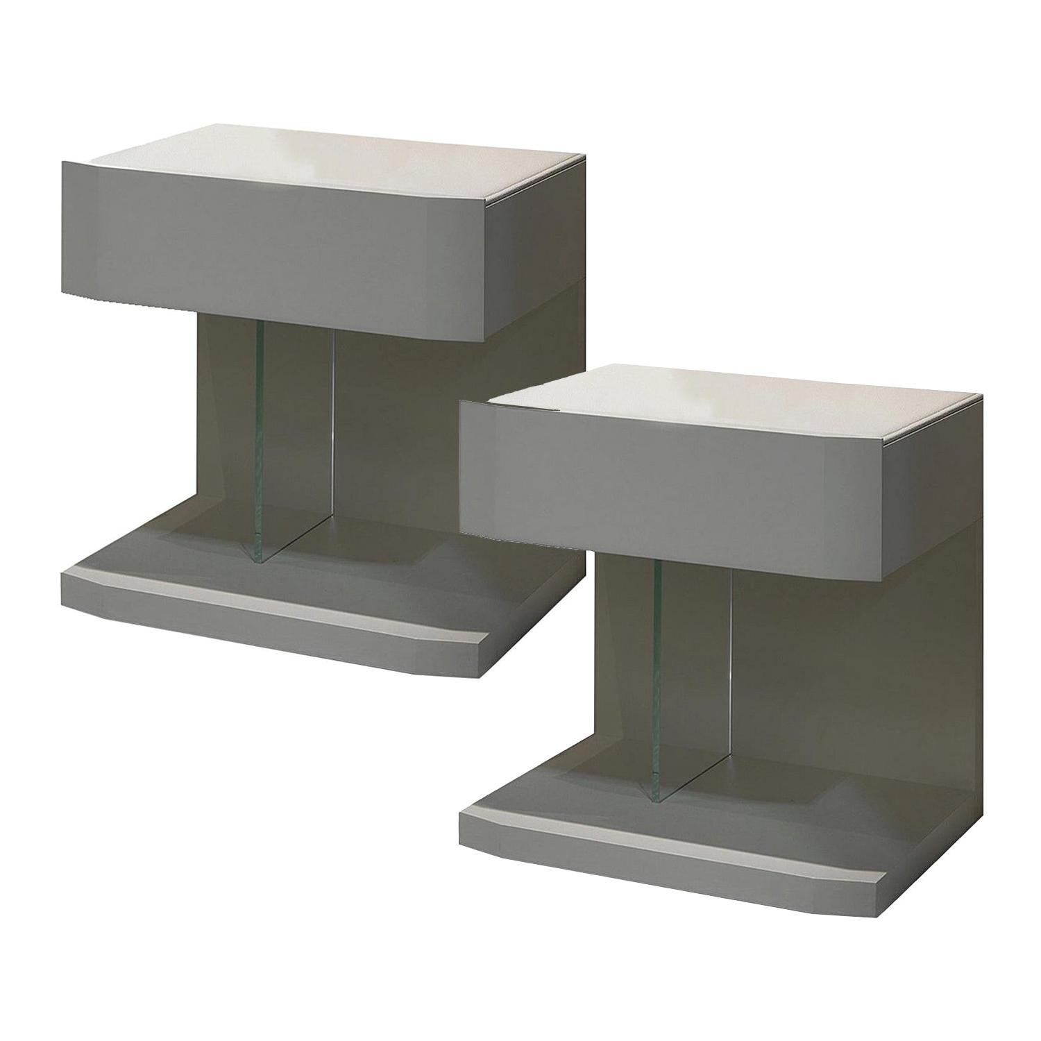 In Stock in Los Angeles, Set of 2 Leather Samar Beige Nightstand Tables