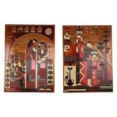 Set of 2 Scandinavian Modern Copper Plated Artwork, 1950s, Denmark