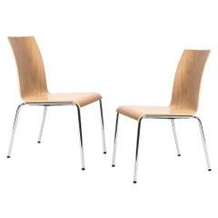 Set of 2 Scandinavian Modern Poro L Dining Chairs in Beech, Made in Switzerland