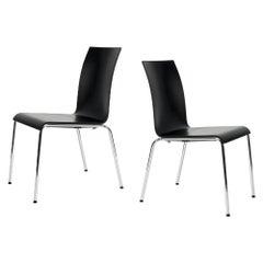 Set of 2 Scandinavian Modern Poro S Dining Chairs in Beech, Made in Switzerland