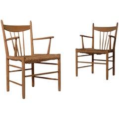 Set of 2 Scandinavian Oak and Rush Side Chairs