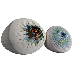 Set of 2 Sea Urchins Porcelain Contemporary 21st Century Italy Unique