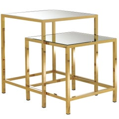 Set of Two Side Tables with Mirror