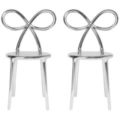 Set of 2 Silver Metallic Ribbon Chairs by Nika Zupanc, Made in Italy