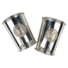 Set of 2 Silver Plate Engraved Kentucky Colonels Mint Julep Cups 1982, a Pair