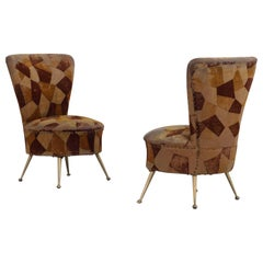 Set of 2 Small Bedroom Chairs with Brass Legs, 1950s, Italy