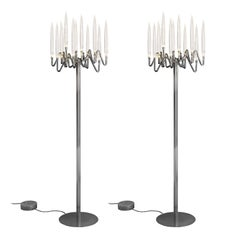 In Stock in Los Angeles, Set of 2 Solid Brass-Plated Floor Lamps, Made in Italy
