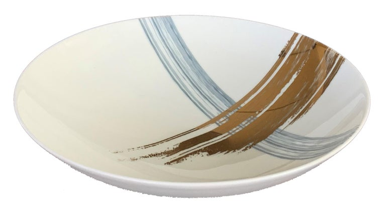 Modern Set of 2 Soup Plate Artisan Brush André Fu Living Tableware New For Sale