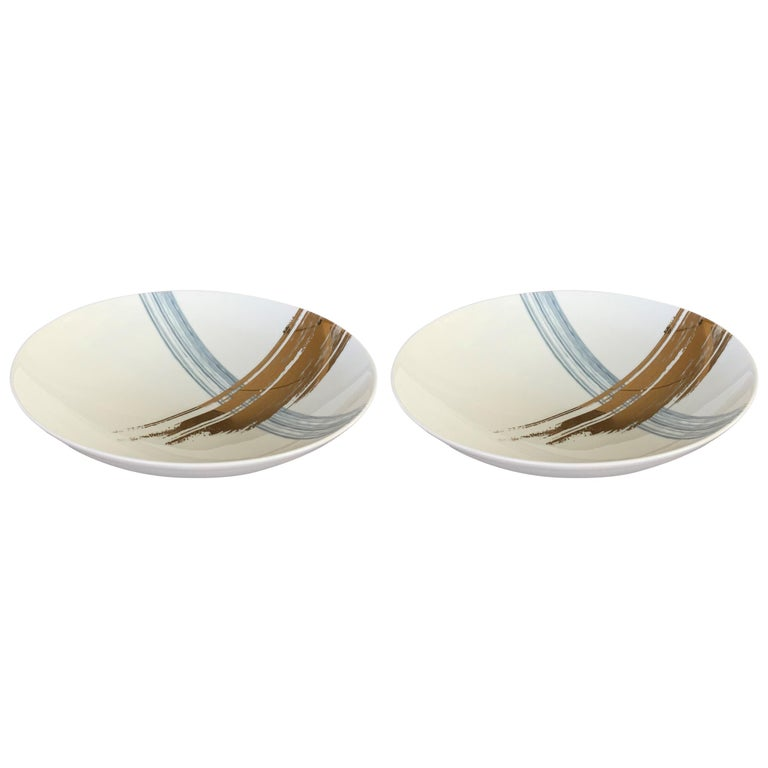Set of 2 Soup Plate Artisan Brush André Fu Living Tableware New For Sale