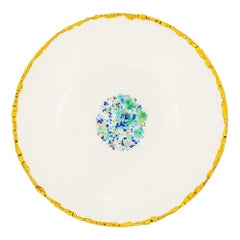 Set of 2 Soup Plates Gold Hand Painted Coralla Maiuri Modern New