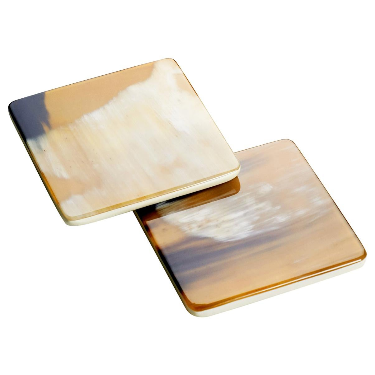 Set of 2 Square Coasters in Corno Italiano and Ivory Lacquered Wood, Mod. 224