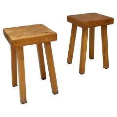 Set of 2 Stools by Charlotte Perriand for Les Arcs, 1800