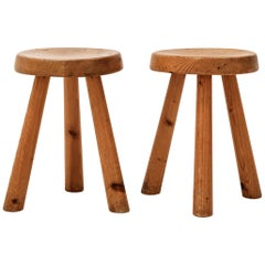 Set of 2 Stools by Charlotte Perriand, Les Arcs, Larch Wood, circa 1960, France