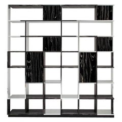 Set of 2 Sudoku Black and White Bookcases by Mario Bellini