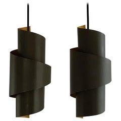 Set of 2 Swirl Shaped Metal Pendant Lamps by Simon P. Henningsen for Lyfa