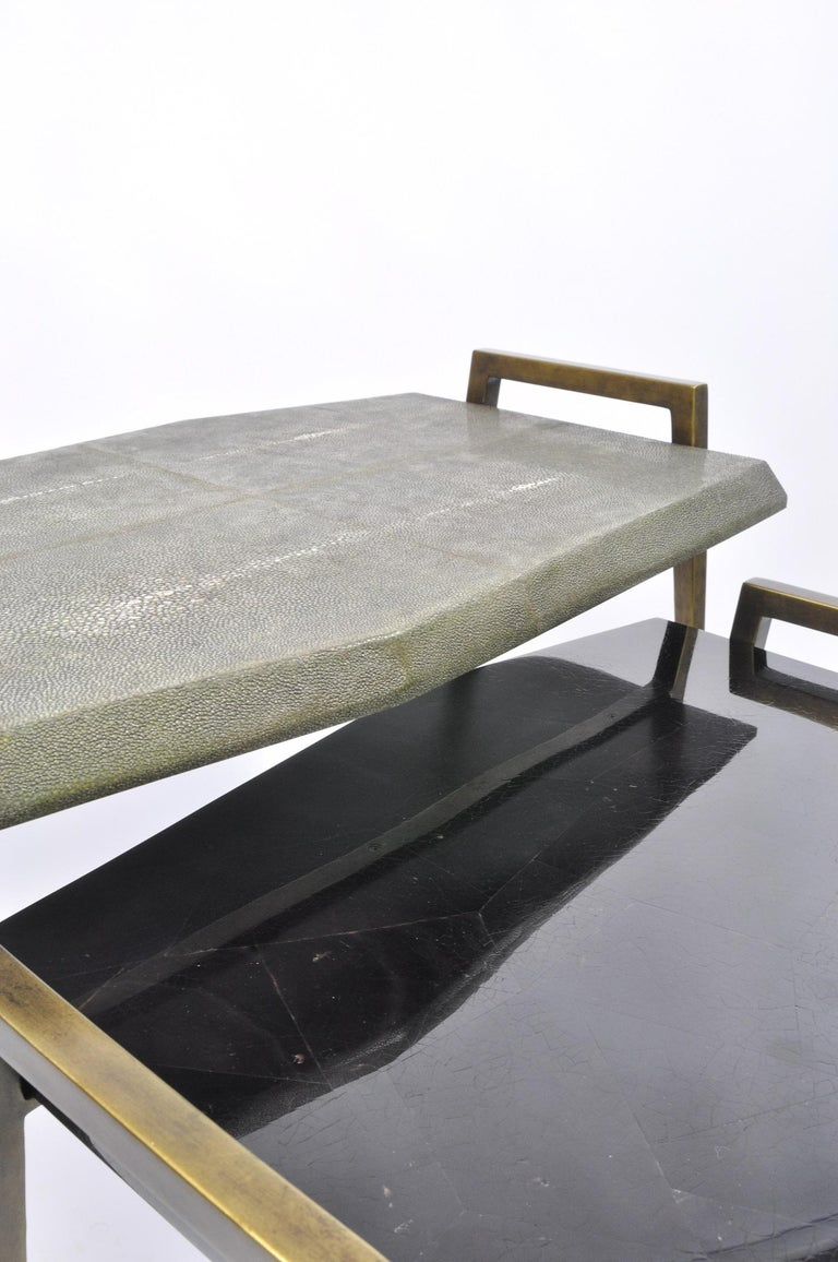 Futurist Set of 2 Tables METEOR in Genuine Shagreen and Shell Marquetry by Ginger Brown For Sale