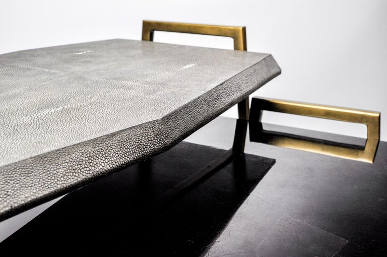 French Set of 2 Tables METEOR in Genuine Shagreen and Shell Marquetry by Ginger Brown For Sale