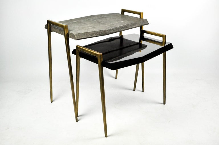 French Set of 2 Nesting Tables in Shagreen and Shell Marquetry by Ginger Brown For Sale