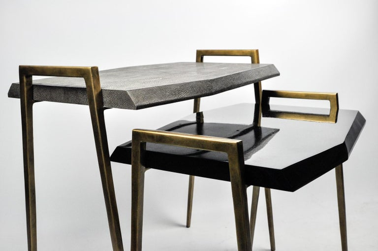 Hand-Crafted Set of 2 Nesting Tables in Shagreen and Shell Marquetry by Ginger Brown For Sale