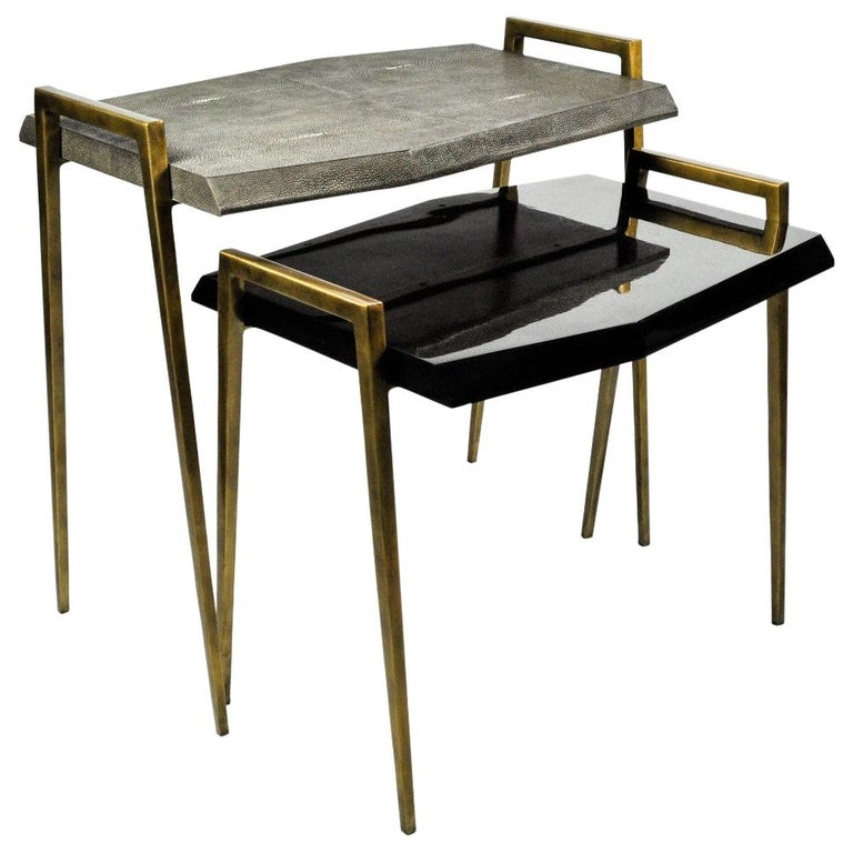 Set of 2 Tables METEOR in Genuine Shagreen and Shell Marquetry by Ginger Brown For Sale
