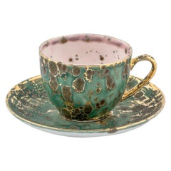Set of 2 Tea Cups and Saucer Gold Hand Painted 10cl Coralla Maiuri Modern