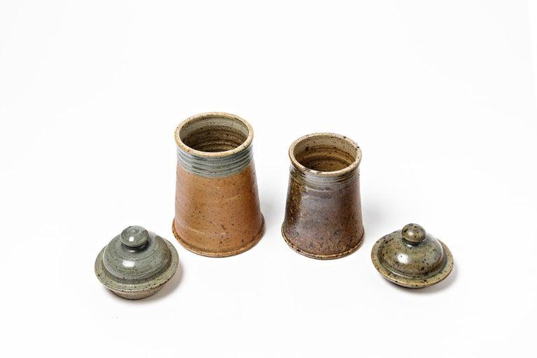 Mid-Century Modern Set of 2 Tea or Coffee Stoneware Ceramic Pots by Pierre Digan La Borne, 1970 For Sale