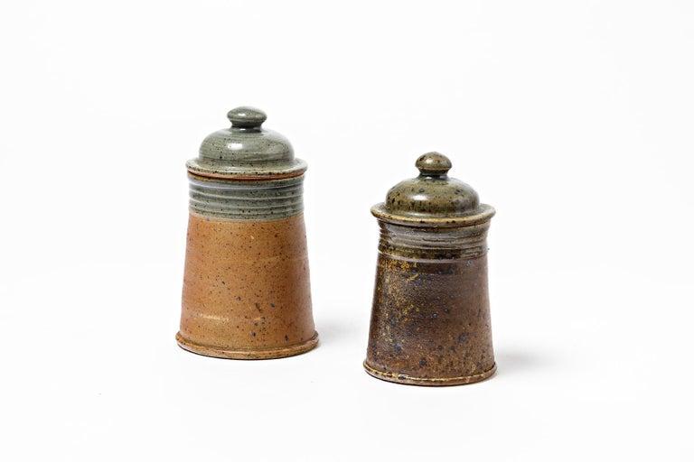 Set of 2 Tea or Coffee Stoneware Ceramic Pots by Pierre Digan La Borne, 1970 In Excellent Condition For Sale In Neuilly-en- sancerre, FR