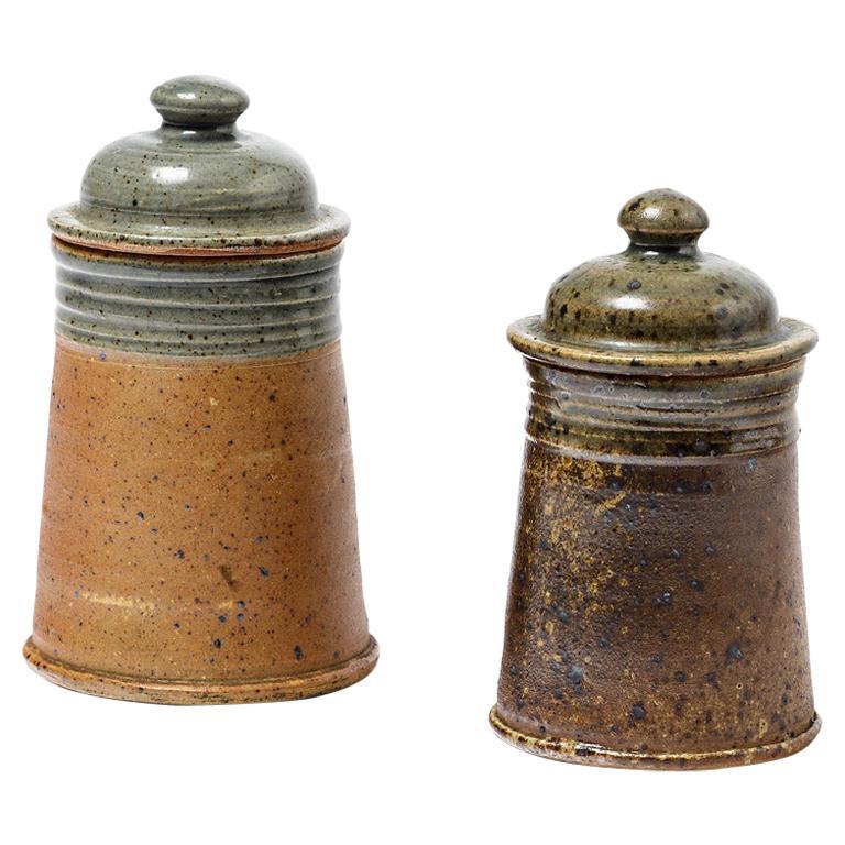 Set of 2 Tea or Coffee Stoneware Ceramic Pots by Pierre Digan La Borne, 1970 For Sale