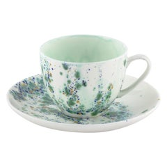 Set of 2 Teacups and Saucer Hand Painted 10cl Coralla Maiuri Modern New