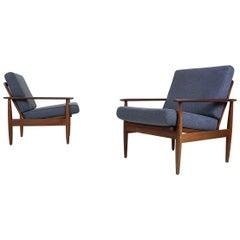 Set of 2 Teak Scandinavian Modern Lounge or Armchairs, 1960s