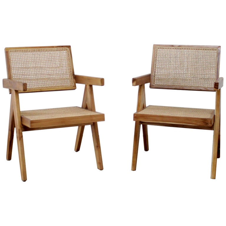 Amazing Set Of 2 Teak Wood And Cane Chairs Andrewgaddart Wooden Chair Designs For Living Room Andrewgaddartcom