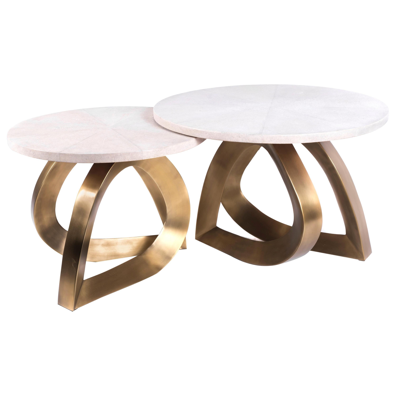 Set of 2 Teardrop Nesting Coffee Tables, Cream Shagreen and Brass by Kifu Paris