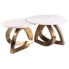 Set of 2 Teardrop Nesting Coffee Tables, Cream Shagreen and Brass by Kifu Paris