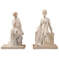 Set of 2 Terracotta Figurines in Tanagra Figurine Style