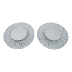 Set of 2 Textured Glass and Mirror Ceiling Wall Flushmounts, Hillebrand, 1960s