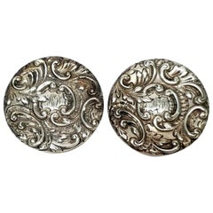 Set of 2 Theodore B Starr Sterling Silver Round Repoussé Pill Boxes Monogram MEH