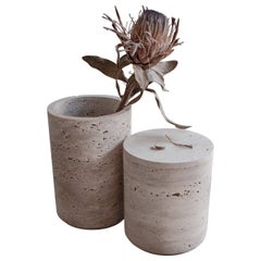 Set of 2 Travertino Light Vases