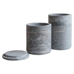 Set of 2 Travertino Silver Vases