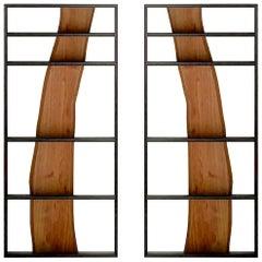 Set of 2 Tree of Life, Natural Edge Acacia Wood Plank Library