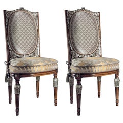 Set of 2 Upholstered Chairs with Silver Inlays